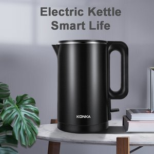 [EU In Stock] Konka Electric Kettle Stainless Steel Water Kettles Heat Pot Teapot Quick Heating 1500W 1.8L Capacity Black and White