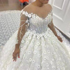 Gorgeous 3D Flower Lace Wedding Dresses Bead Plus Size Bridal Gown Pearls Church Full Sleeve Vestido De Novia