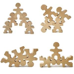 Wooden Men Toys Building Stacking Games Natural Wood People Balance Blocks Creative Jenga Blocks Montessori Educational Toys R0409