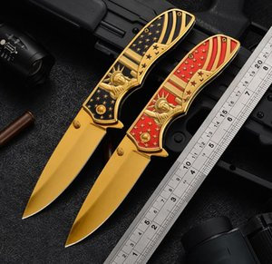 2021 HW187 Newly American Wind Folding Knives Stainless Steel Three-dimensional Relief 3D Outdoor Hiking Camping Portable Pocket Knife Survival Equippment