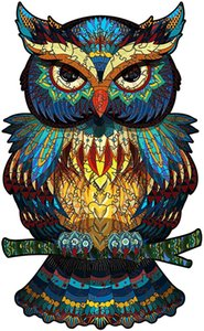 Owl Wooden Jigsaw 200 Pieces - Colorful Animal-Shaped Puzzle Wood, Waterproof Unique Family Game Problem-Solving Challenge Activity for Adults, Children