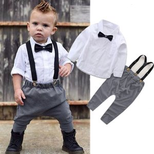 Fashion Newborn Toddler Kids Baby Boy Tops Long Sleeve overalls Shirt+Bib Pants Gentleman Suits Trousers Outfits Clothes Set
