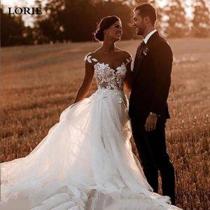 LORIE Vintage A Line Tulle Wedding Cap Sleeves Lace Appliques Bride Dresses Charming Long 2021 Vestido De Noiva