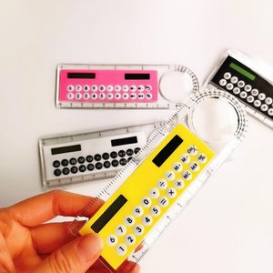 6 color Mini Portable Solar Energy Calculator Creative Multifunction Ruler Students Gift Free