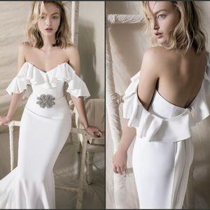 Vintage Lihi Hod Mermaid Wedding Dress Off Shoulder Rhinestone Belt Floor Length Satin Cheap Wedding Dresses Custom Made