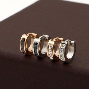 E3-210 Korean Super Flash Small Square Drill Ear Button Titanium Steel Open Earrings for Men and Women