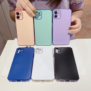 Electroplated Slim Straight Edge Matte Soft TPU Shockproof Phone Cases for iPhone 12 11 Pro Max Mini XR XS X 8 7 Plus