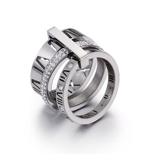 Band Rings Stainless Steel Rose Gold Roman Numerals Ring Fashion Jewelry Ring Women's Wedding Engagement Jewelry For Women
