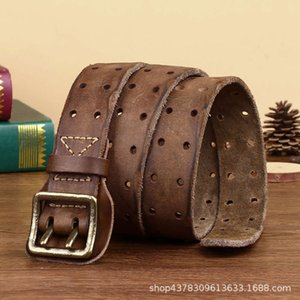 Belts Luxe Marque Cow Real Learn Brass Copying Double Needle Young Men Belt Brand New Style cowboyO8A0