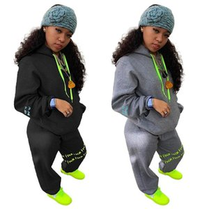 RStylish 2 Piece Set 2020 Casual Women Print Pockets Sweatershirts Hoodies Pants Suit Tracksuit Outfits Winter Pullover Clothes