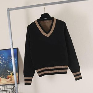 2021 Frauenpullover Casual Strick Contrast Color Langarm Herbst Mode Wear Classic Damen Pullover Cardigan Briefmuster