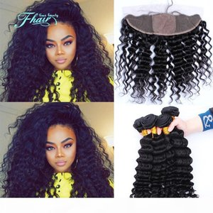 7A Peruvian Silk Base Lace Frontal Closure With Bundles Deep Wave Human Hair Weave Same Directions With 4X4'' Silk Top Lace Fronta