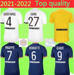 20 21 Тайская футбол Джерси MBAPPE VERRATTI 2021 Marquinhos Kimpembe Di Maria Kean Футбол Джерси Футбол Топы Мужская Рубашка