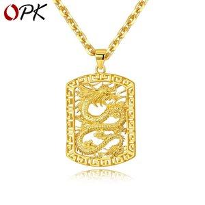 Kupfer-plated Gold Ornament Großhandel Gold Herren Atmosphärische Anhänger Dominierende Boss Hohl Drache Halskette Trendy Herren Schmuck