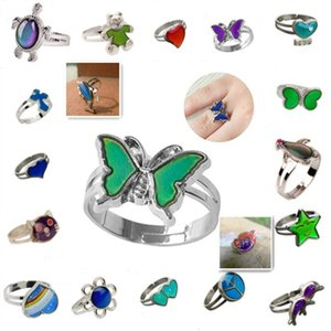 Butterfly Mood Ring Color Change Adjustable Emotion Feeling Changeable Temperature Ring Jewelry For Kids Birthday Wholesale