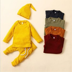 Baby Clothing Sets Solid Knitted Three-Piece Sets Infant Winter Long Sleeve Tops Pants with Cap Boy Girl Outdoor Warm Outfit Sets BYP107