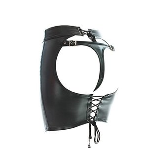 Faux Leather Lace Up Spanking Mini Skirt Fetish Open Hip Bondage Knicke Clubwear Bras Sets