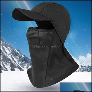 Protective Gear Cycling Sports Outdoorscycling Caps & Masks Winter Windproof Hiking Hat With High Elasticity Neck Warmer Fleece Hood Fl Face
