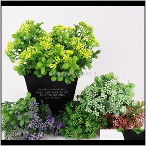 إكليل الزهور الزخرفية إمدادات احتفالية حديقة انخفاض التسليم 2021 نباتات الفاكهة الاصطناعية البلاستيك ميلان العشب مصنع حفل زفاف