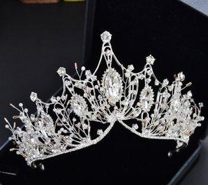 Barockrhinestone Kristall Perlen Stirnband Tiara Krone Hochzeit Haarschmuck