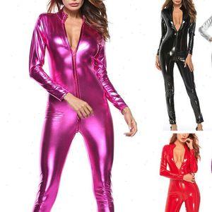 Sexy Womens Capris Bodycon Jumpsuit Women Solid Color Zipper Faux Patent Leather Bodysuit Tight Dance Clubwear