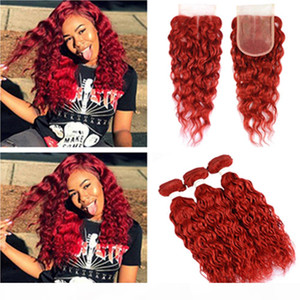Water Wave Red Human Hair Bundles with Closure Bright Red Brazilian Wet and Wavy Human Hair Weaves 3Bundles with Lace Front Clsoure 4x4