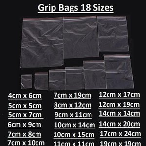 100Pcs Small Clear Plastic Poly Grip Self Seal Resealable Mini Bag Jewellery Storage Bags