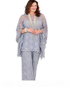 Spitze Mutter der Braut Hose Anzüge 2021 Lange Ärmel Drei Stücke Silbergrau Formale Frauen Plus Größe Bräutigam Mutter Kleider für Hochzeit