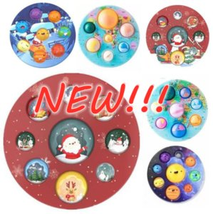 Christmas Fidget Toys Dimple Autism Needs Squishy Stress Reliever Decompression Toy Adult Kid Tie Rainbow Anti-stress Gift Bubble