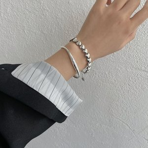 Silver Heart Connected Bracelets For Women Simple Vintage Stitching Bracelet Niche Design Cool Jewelry