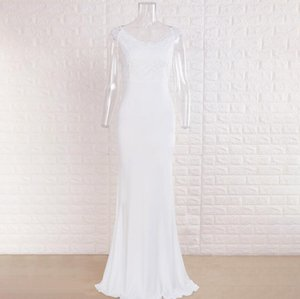 White v-neck dresses comfortable The bridesmaid dress breathable high-grade Plus Size Women Clothing Pure whites party