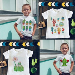 Unisex Cartoon T-shirt Plant Girl Clothes Cactus Cute Boys T Shirts Harajuku Design Kids T Shirt Round Neck White Short Sleeve