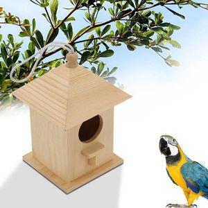 Птичий дом твердой древесины Открытый PET CAGE CAGE POSTORAL Гнездо Гнездо Плавная поверхность Нежная клетка Birdhouse Потеха Устойчивый к садовому декору