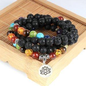 8mm 108pcs Mala Beads 7 Chakra Lotus OM Tree Of Life Charm Pendant Necklace Men Women Tibetan Amulet Rosary For Necklaces