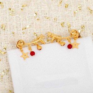 Мода стиль клип Earrng с природой красный цвет жемчужины и алмазные слова дизайн для женщин свадебный подарок ювелирных изделий иметь коробку PS8662