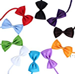19 Colors Adjustable Pet Dog Bow Tie Dog Tie Collar Flower Accessories Decoration Supplies Pure Color Bowknot Necktie Grooming OWC7622