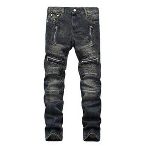 Джинсы высокое качество разорванные для мужчин Размер 28-38 40 42 2021 осенний весенний хип-хоп Punk Streetwear Q011 мужская