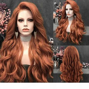 Charisma Long Wavy Wig Orange Red Color Side Part Synthetic Lace Front Wig Silver Grey Wigs for Women Cosplay