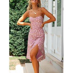 Dresses Women Dress Flower Print Casual Summer Vestidos Split Boho Girl Ladies Slip Women's Chic Spring Fashion