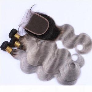 3Pcs 1B Grey Ombre Peruvian Human Hair Wefts With Closure Body Wave Silver Grey Ombre Lace Closure 4x4 With 3 Bundles Extensions