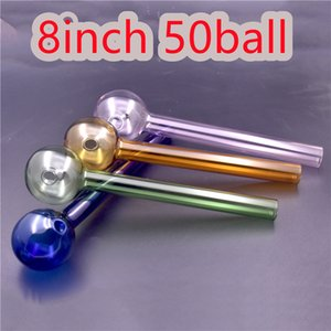 BIG size Glass Oil Burner Pipe 8inch lenght 50mm bubbler Hand smoking Pipes Colorful Glass Straight Tube Smoking spoon Pipes