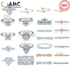 Stones Zircon similar diamond shine ring Jewelry High quality version female With Side couple Gold S925 Engagement gift to women