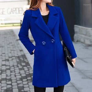 Winter Coat Women Korean Wool Coat Women Ladies Female Winter Blue Red Coats Jacket Monteau Femme Outwear Woman Autumn1