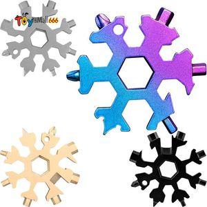 Snowflake Multi Tool 18 in 1 Snowflake Wrench Multitool Bottle Openers Multi Key Ring Bike Fix Tool Christmas Snowflake Gift FY7312