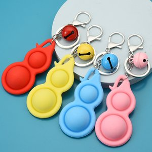 Silicone Guard Bells Keychains Push Bubble Simple Dimple Key Rings Chains Pop It Toys Bag Charms Pendants Sensory Finger Fidget Stress Relief Keyrings Accessories