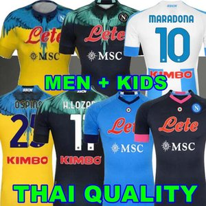 20 21 Napoli Soccer Jerseys insigne 2021 Zielinski Politano Mertens Maradona 축구 셔츠 Lozano 4th Jersey Osimhen Fabian 특별한 키트 네 번째