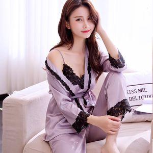 sleepwear Sexy Ladies Silk Satin Kimono Bathrobe Robe Set Half Sleeve Lingerie Pajamas