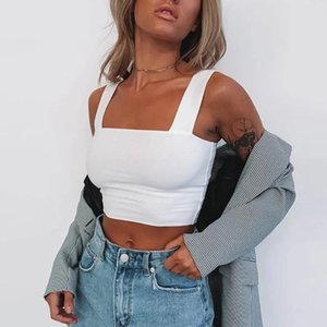 Neck Sleeveless Summer Crop Top White Women Black Casual Basic T Shirt Off Shoulder Cami Sexy Backless Tank Women's Tanks & Camis