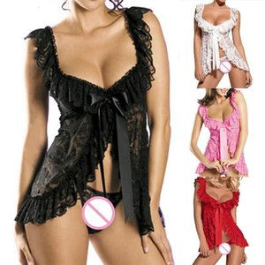 Women's Sleepwear Women Sexy Lingerie Sets Plus Size Europe And America Style Lace Perspective Dress + T Pants M L XL XXL XXXL XXXXL NE0J