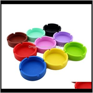 Ashtrays 9 Colors Creative Round Sile Ashtray Anti-Shock Smoke Ash Tray Fashion Environmental Smoking Accessories Eef4307 W6O3F Raq2S